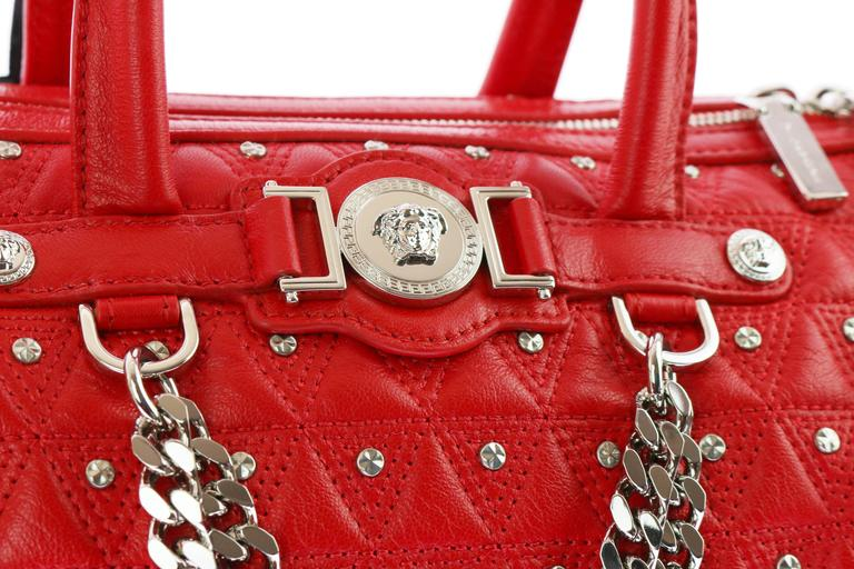"VERSACE ""Signature"" Studded Red Leather Duffle Bag 4"