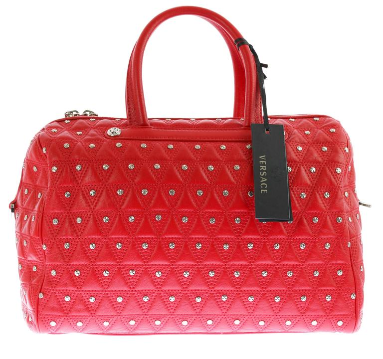 "VERSACE ""Signature"" Studded Red Leather Duffle Bag 5"