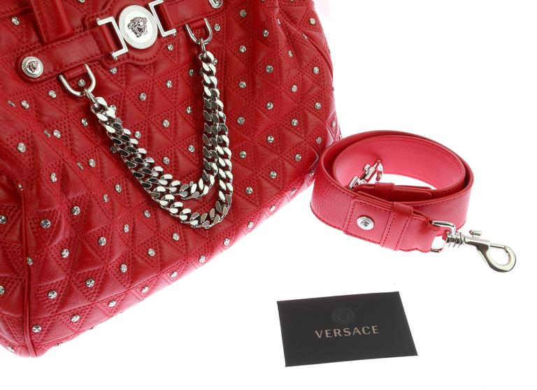 "VERSACE ""Signature"" Studded Red Leather Duffle Bag 6"