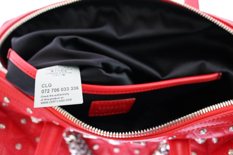 "VERSACE ""Signature"" Studded Red Leather Duffle Bag 7"