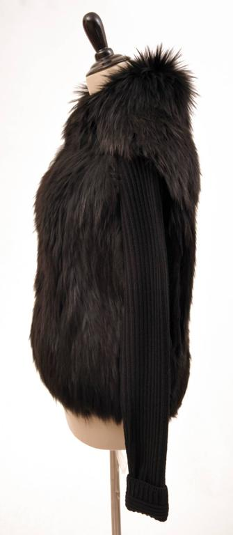 Versace black knit wool sweater with fur  For Sale 1