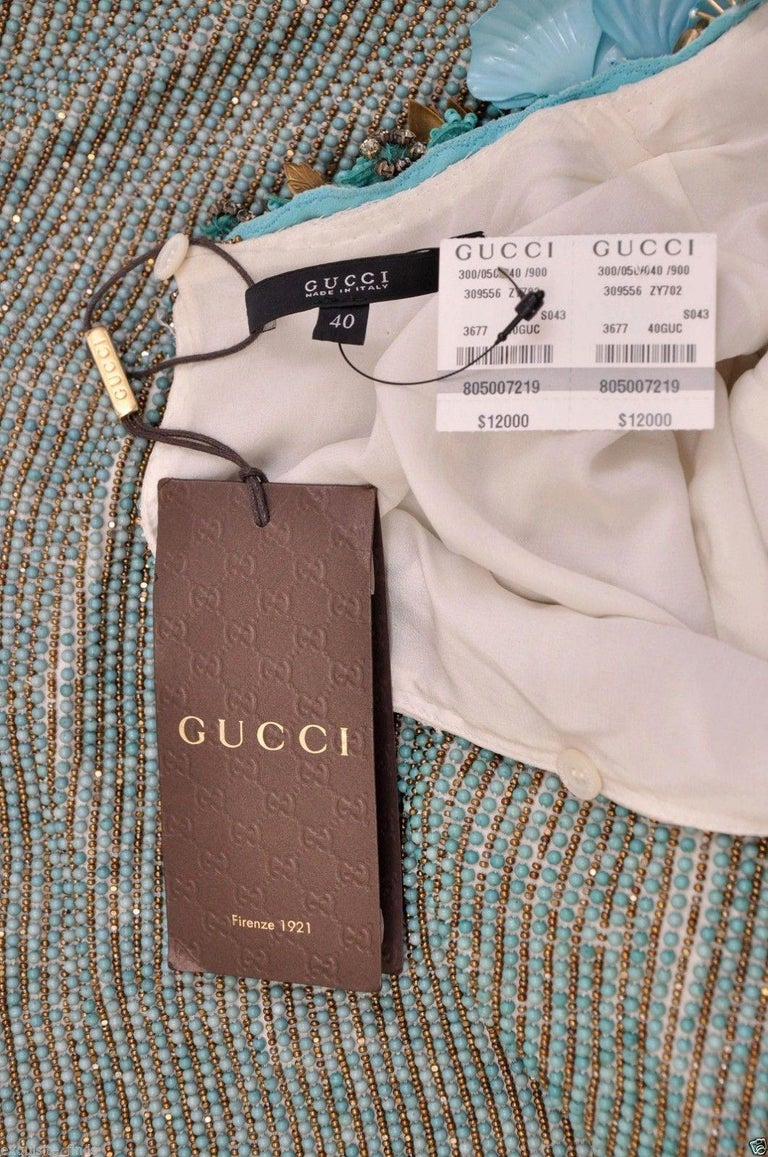 New GUCCI BEADED DRESS WITH FLORAL EMBROIDERY In New Condition For Sale In Montgomery, TX