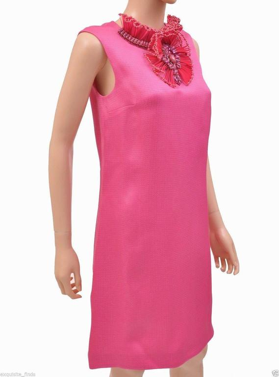 New GUCCI HOT PINK RAFFIA DRESS with FLORAL EMBROIDERY 2