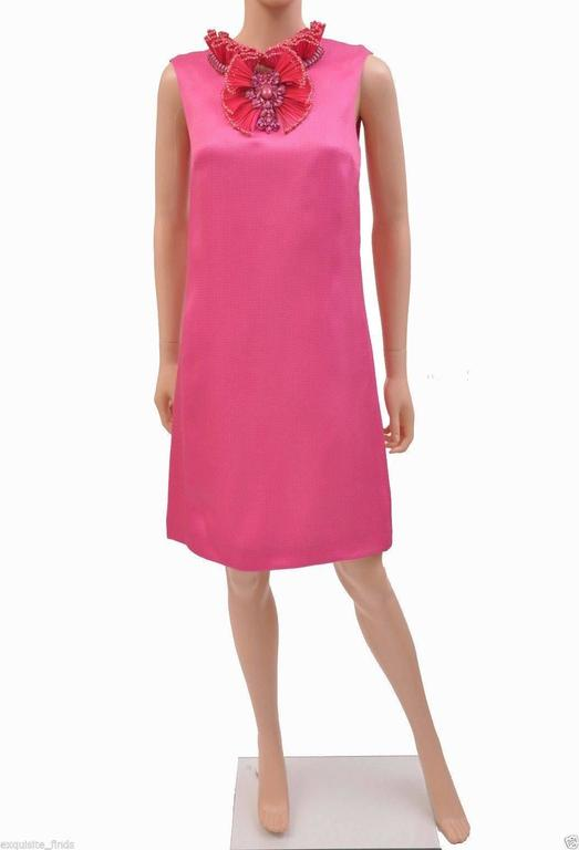 New GUCCI HOT PINK RAFFIA DRESS with FLORAL EMBROIDERY 3