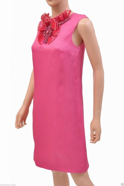 New GUCCI HOT PINK RAFFIA DRESS with FLORAL EMBROIDERY 5