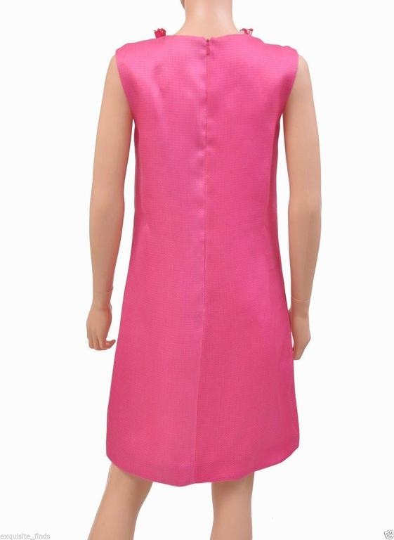 New GUCCI HOT PINK RAFFIA DRESS with FLORAL EMBROIDERY 6