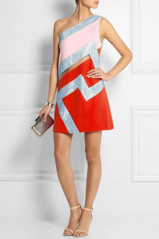 Gray  New Versace Crystal-embellished silk-cady mini dress For Sale