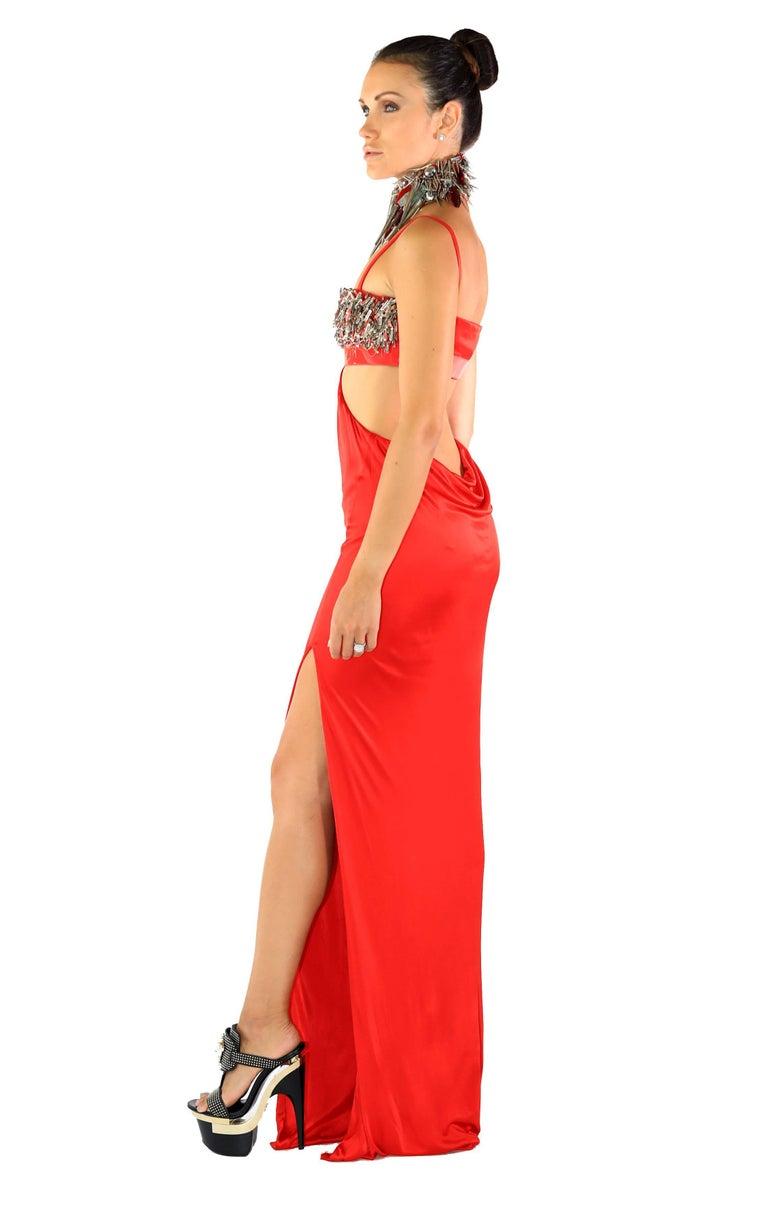 Cara Delevingne's Versace Red Studded Vinyl Liquid Jersey Dress 6