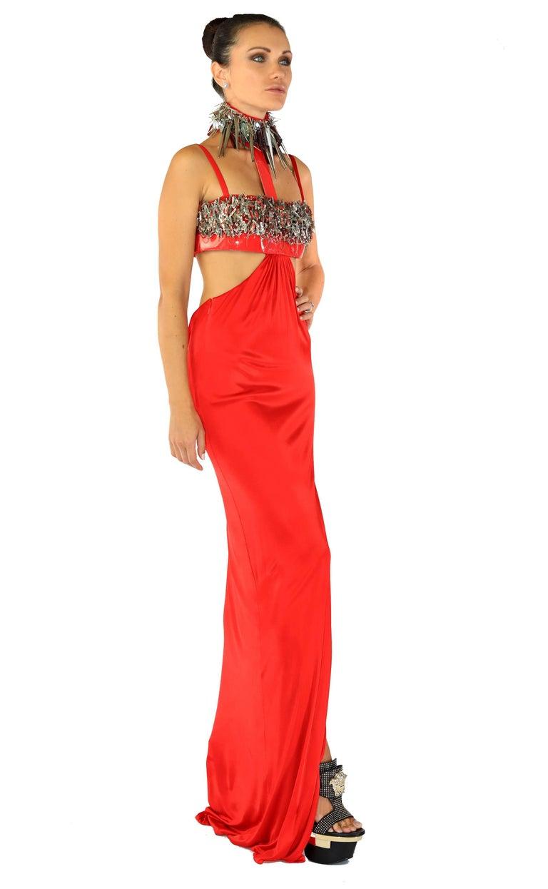Cara Delevingne's Versace Red Studded Vinyl Liquid Jersey Dress 3