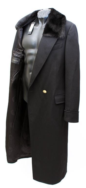 Versace Black Wool Men S Coat With Mink Fur At 1stdibs