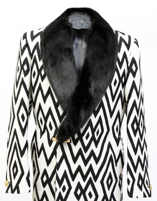 Versace Men's Printed Coat with Mink Fur 2
