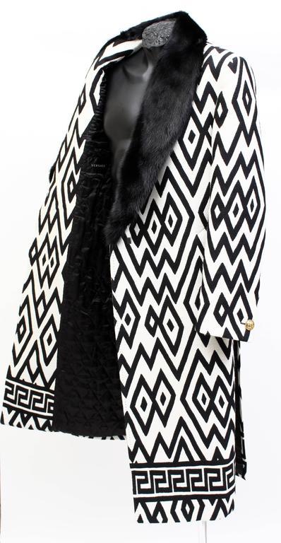 Versace Men's Printed Coat with Mink Fur 3