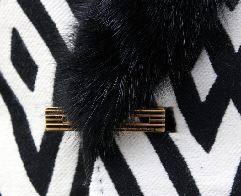Versace Men's Printed Coat with Mink Fur 7