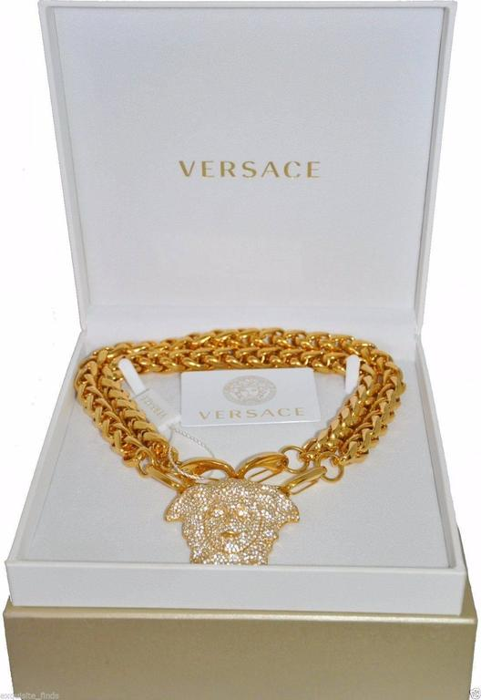 VERSACE GOLD DOUBLE CHAIN NECKLACE w/ CRYSTAL EMBELLISHED MEDUSA  2