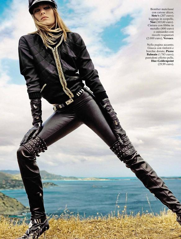"VERSACE ""Chelsea"" Studded Black Leather Thigh High Boots 3"