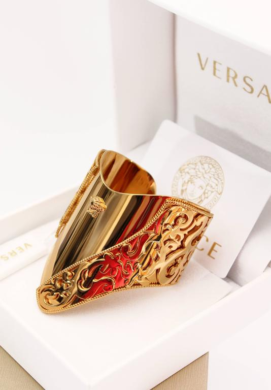 New VERSACE 24K Gold Plated Metal Cuff Bracelet  2