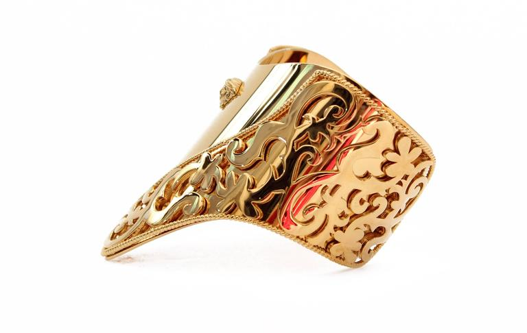 New VERSACE 24K Gold Plated Metal Cuff Bracelet  4