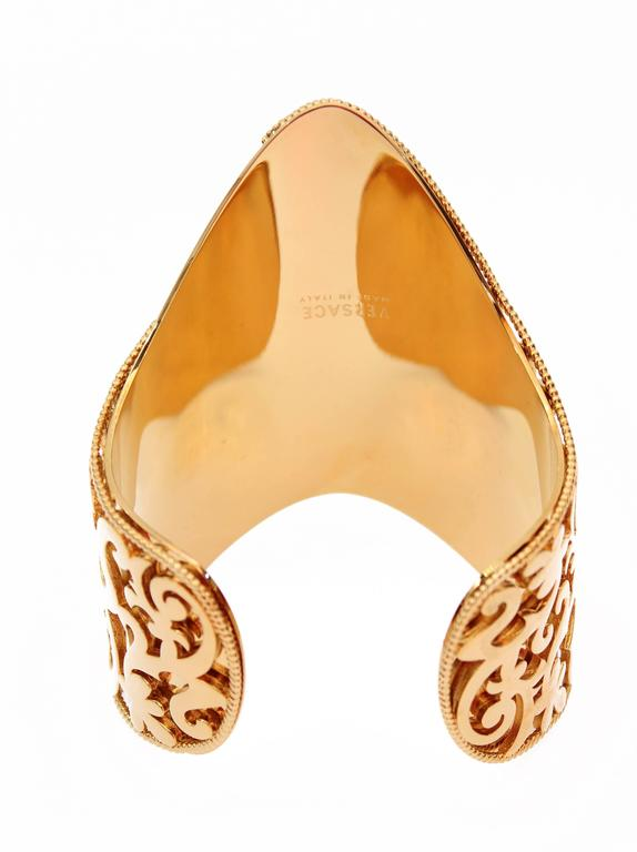 New VERSACE 24K Gold Plated Metal Cuff Bracelet  7