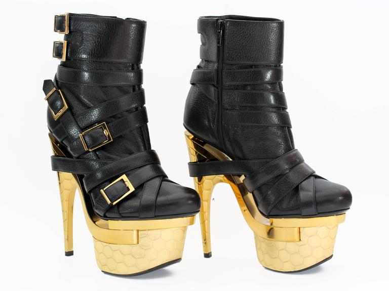 31e36ecd New VERSACE BONDAGE TRIPLE PLATFORM BLACK LEATHER ANKLE BOOTS