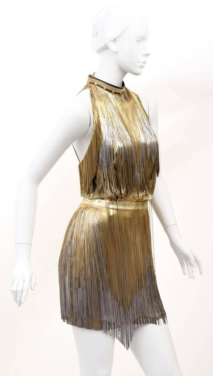 Versace Atelier Gold Fringed Tie Dyed Gabardine Dress 2