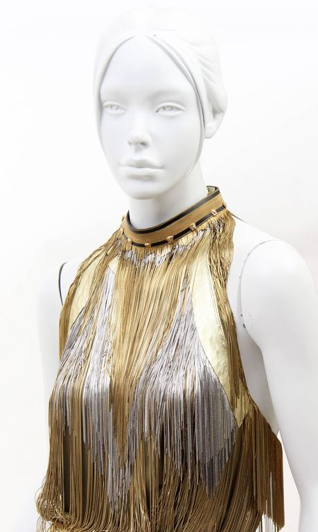 Brown Versace Atelier Gold Fringed Tie Dyed Gabardine Dress For Sale