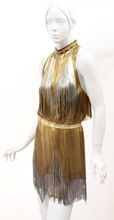 Versace Atelier Gold Fringed Tie Dyed Gabardine Dress In Excellent Condition For Sale In Montgomery, TX