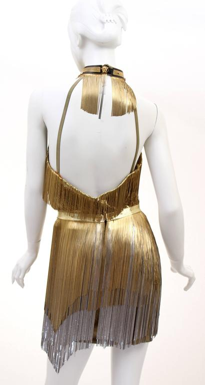Versace Atelier Gold Fringed Tie Dyed Gabardine Dress 5