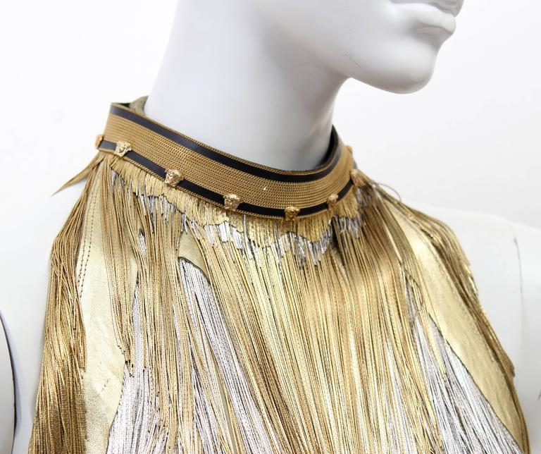 Versace Atelier Gold Fringed Tie Dyed Gabardine Dress For Sale 1