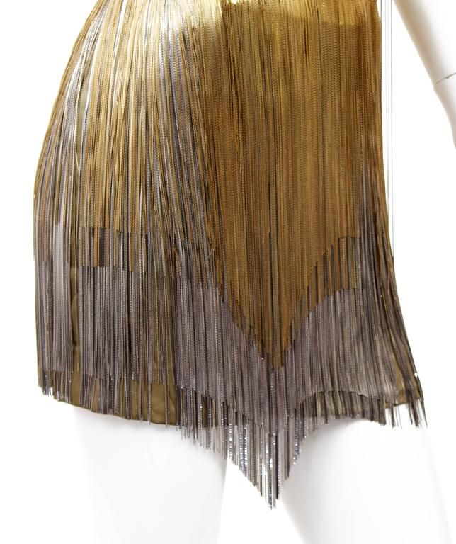 Versace Atelier Gold Fringed Tie Dyed Gabardine Dress For Sale 2