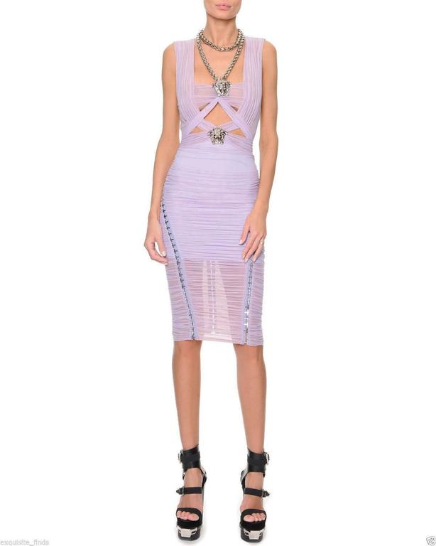 Versace Ruched Lilac Dress with Medusa chain necklace 3