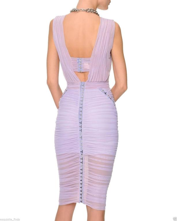 Versace Ruched Lilac Dress with Medusa chain necklace 4