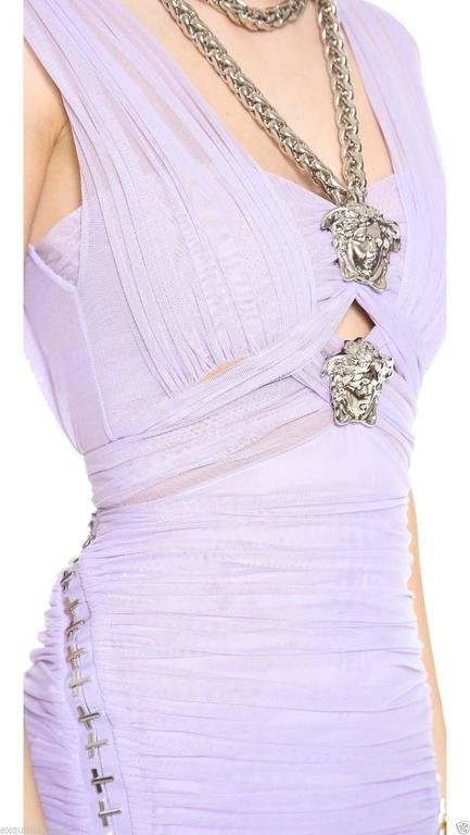 Versace Ruched Lilac Dress with Medusa chain necklace 5