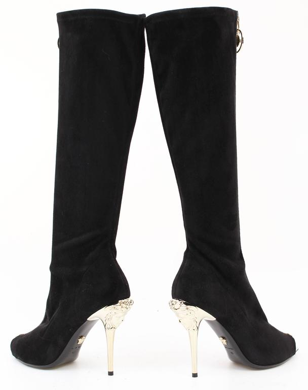 New VERSACE Knee High Black Suede Boots with gold Medusa heel and ...