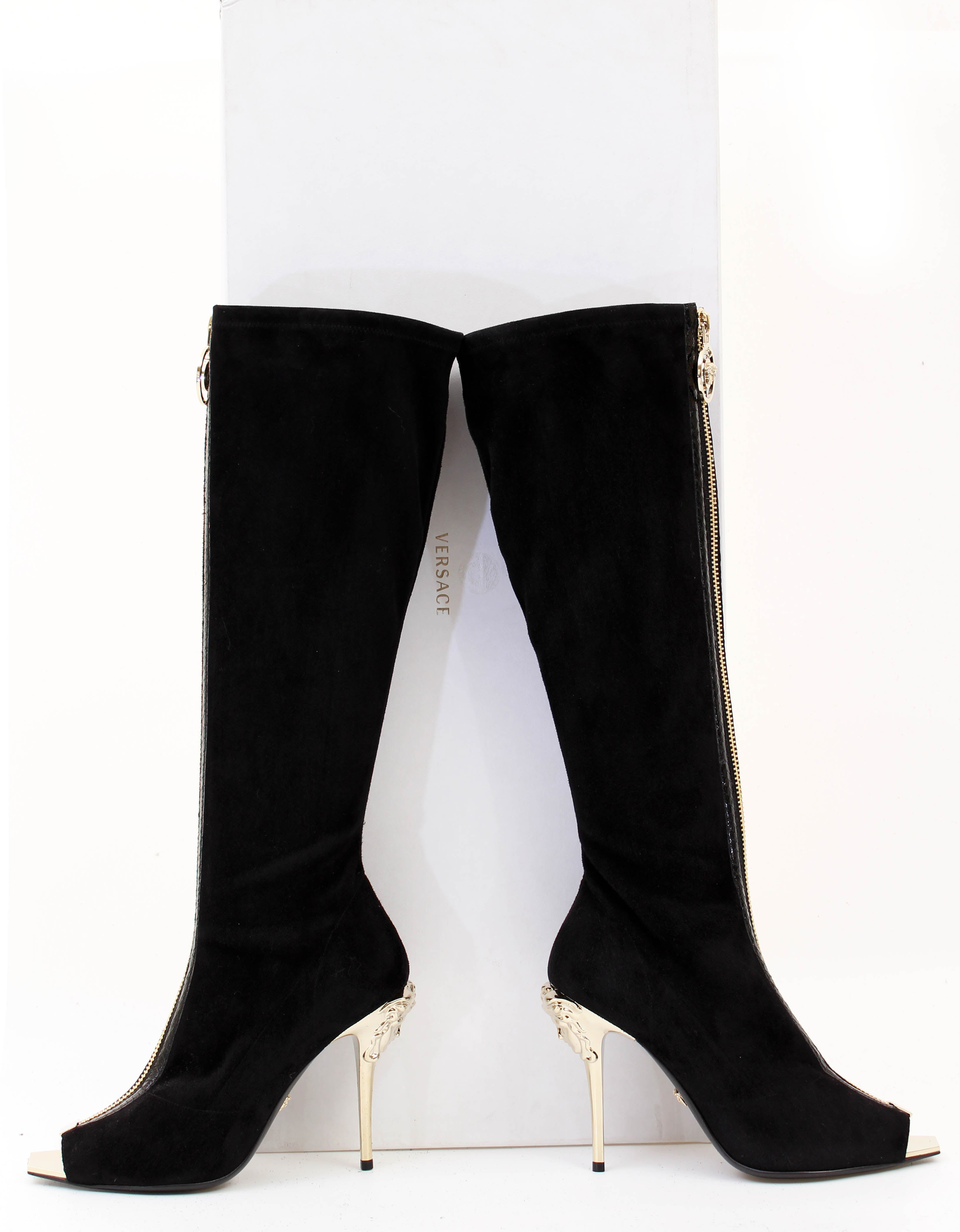 c812da70768 New VERSACE Knee High Black Suede Boots with gold Medusa heel and open toe  For Sale at 1stdibs