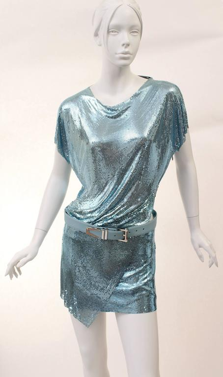 New Versace Blue Metal Mesh Dress with Belt 2