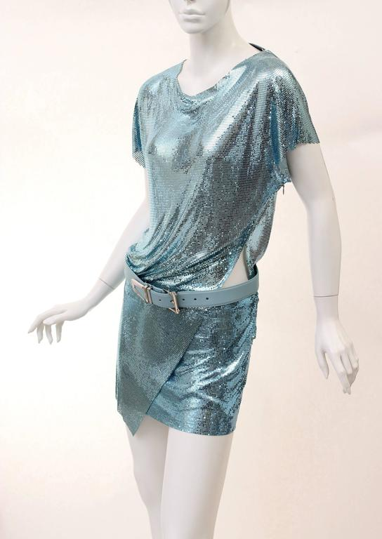 New Versace Blue Metal Mesh Dress with Belt 3