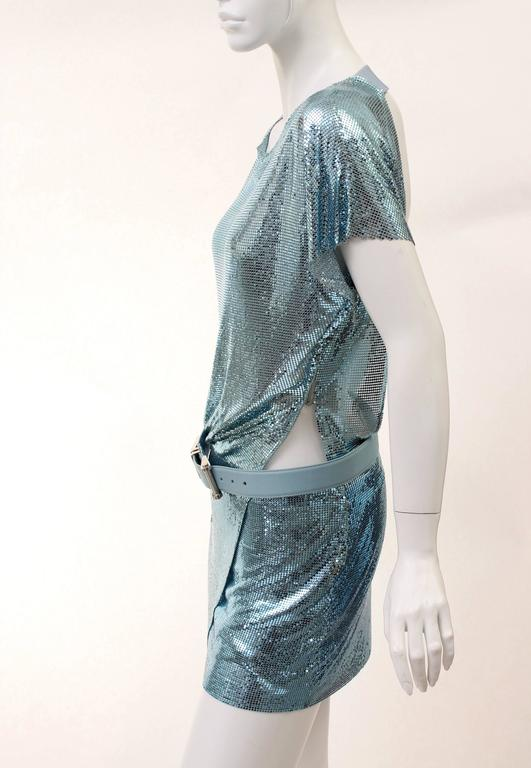 New Versace Blue Metal Mesh Dress with Belt 5