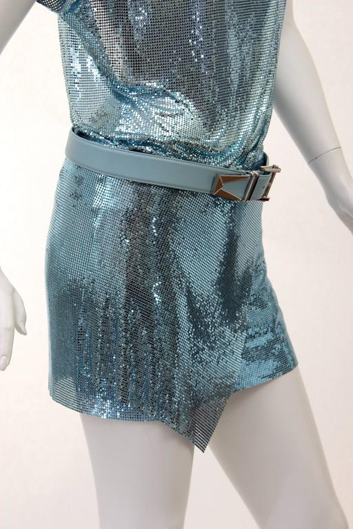 New Versace Blue Metal Mesh Dress with Belt 7