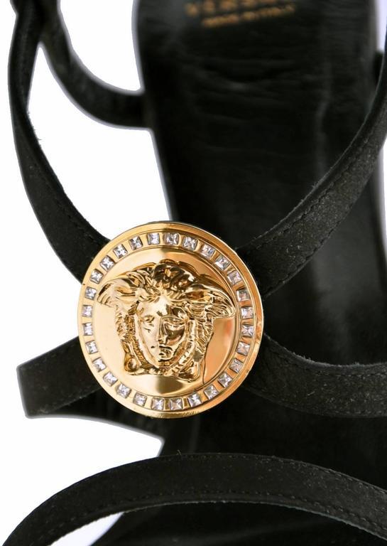 VERSACE Triple Platform Black Gold Medusa Swarovski Crystals Sandals  In New Condition For Sale In Montgomery, TX