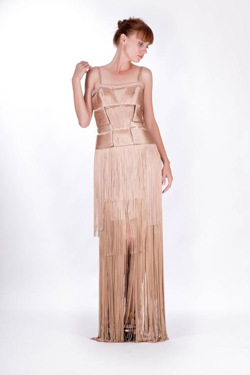 Beige Versace Nude Fringe Gown For Sale
