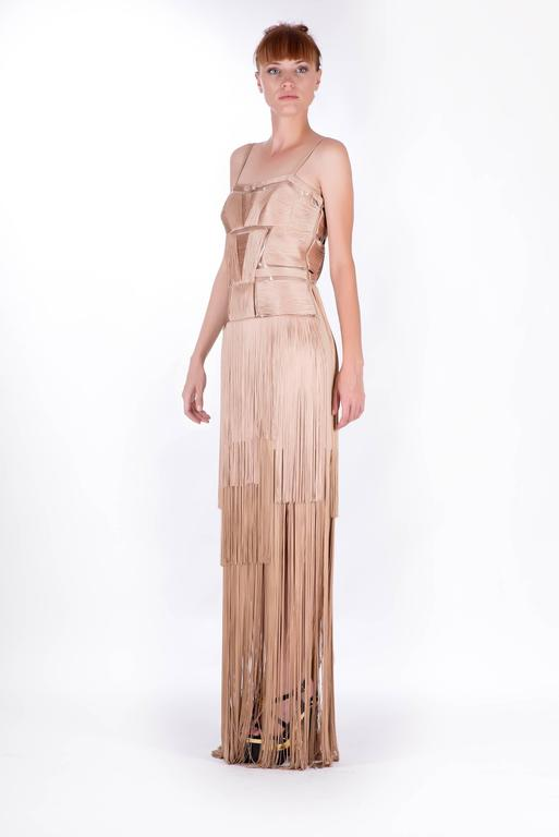 Versace Nude Fringe Gown In New Condition For Sale In Montgomery, TX