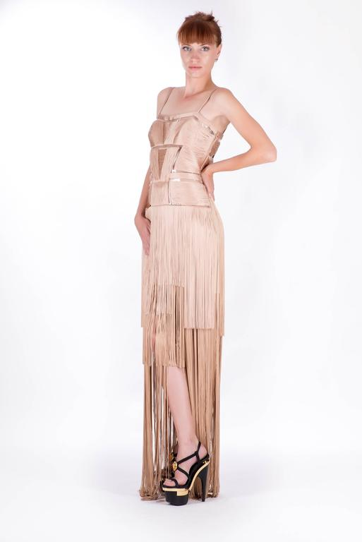 Women's Versace Nude Fringe Gown For Sale