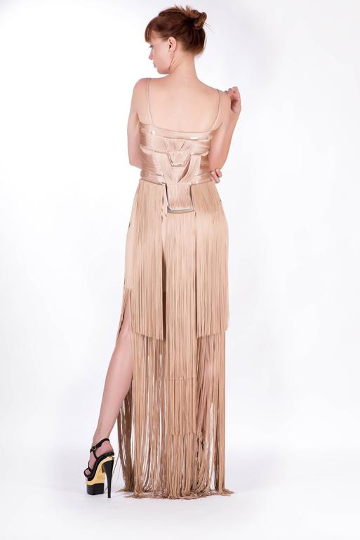 Versace Nude Fringe Gown For Sale 1