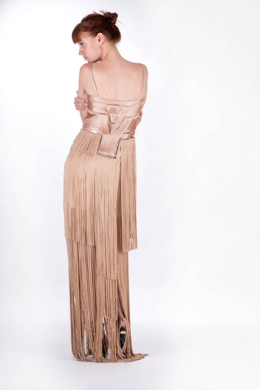 Versace Nude Fringe Gown For Sale 2