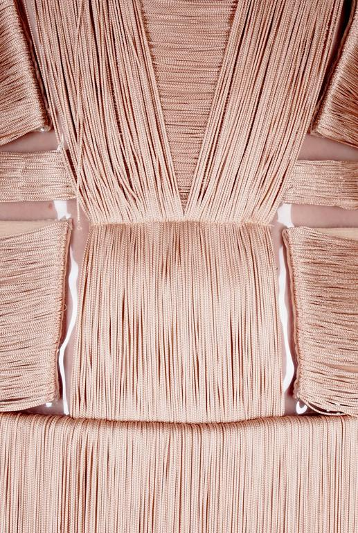 Versace Nude Fringe Gown For Sale 3
