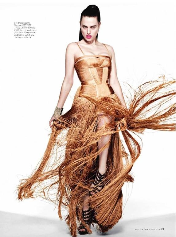 Versace Nude Fringe Gown For Sale 5