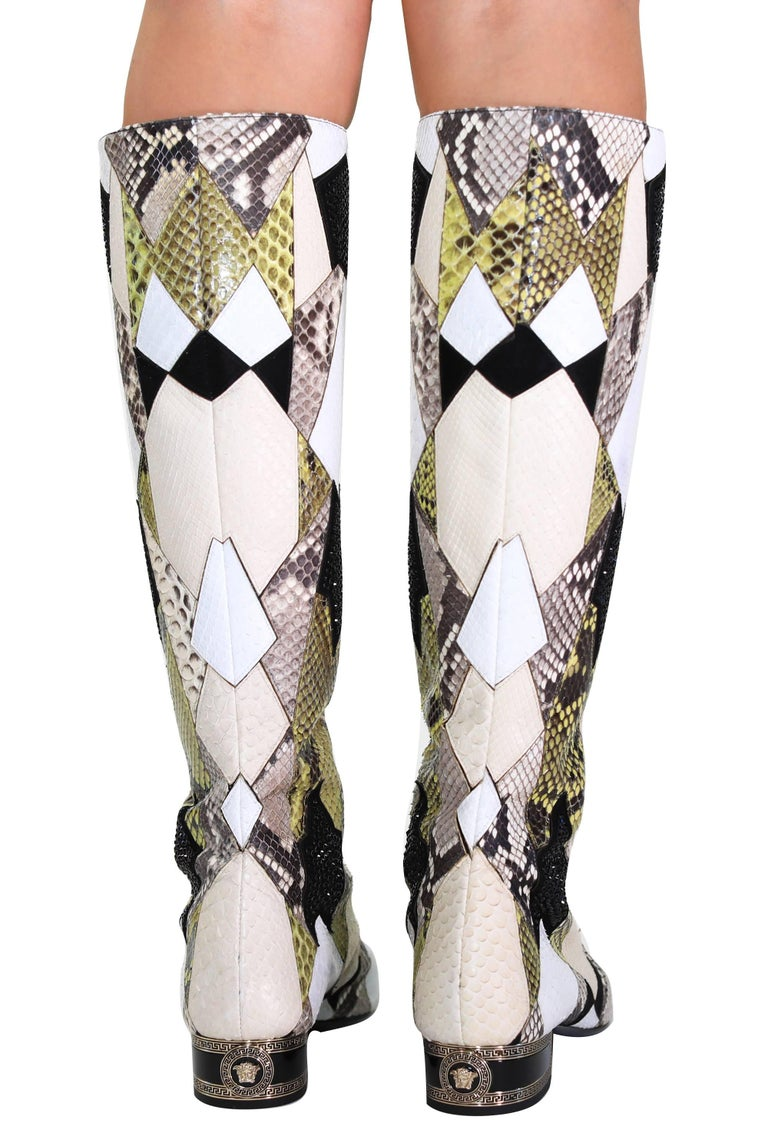 3ee00b13ad8 New VERSACE Crystal Embelished Python Gladiator Boots In New Condition For  Sale In Montgomery