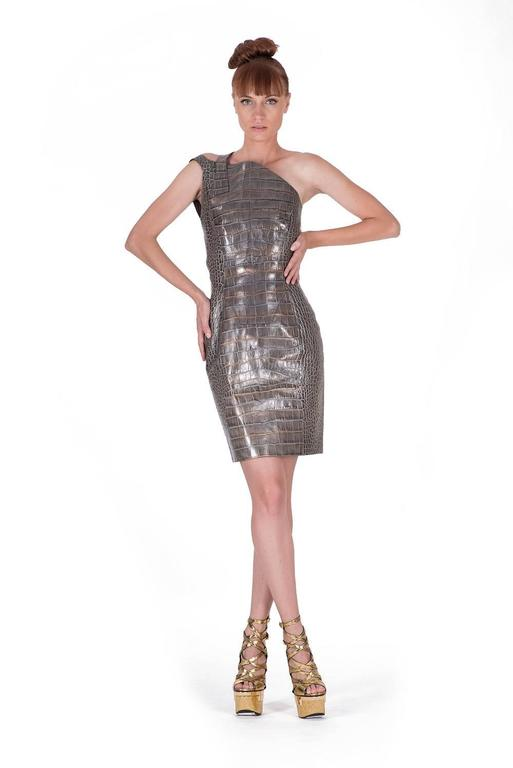 Versace crocodile print leather dress 2