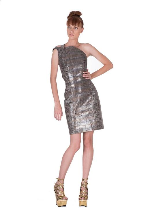 Versace crocodile print leather dress 3