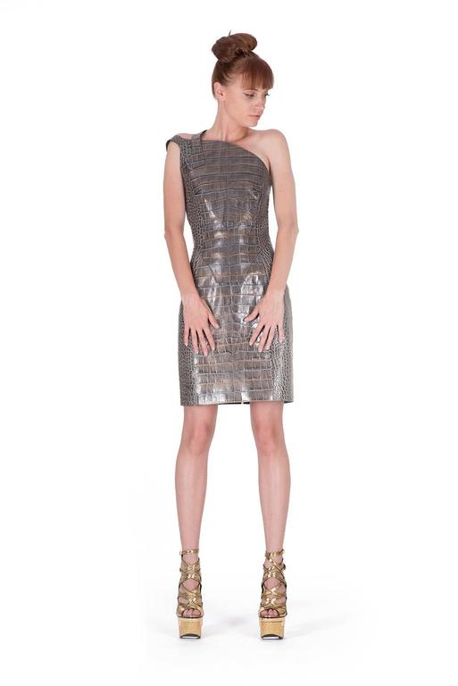 Versace crocodile print leather dress 4